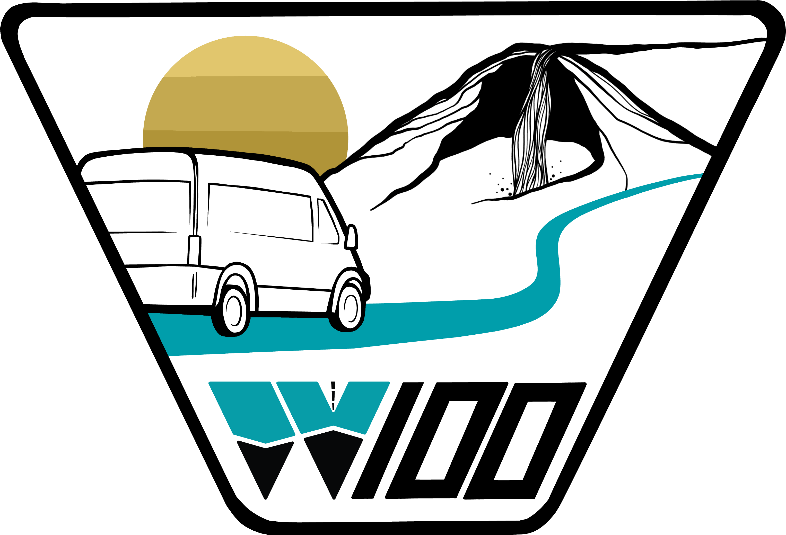 Wayfarer 100 Patch - graphic of van set against mountains with waterfall and gold setting sun on the horizon
